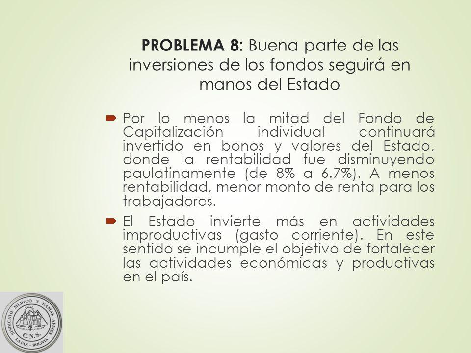 PROBLEMA 8: Buena parte de las inversiones de los fondos seguirá en manos del Estado Por lo menos la mitad del Fondo de Capitalización individual continuará invertido en bonos y valores del Estado, donde la rentabilidad fue disminuyendo paulatinamente (de 8% a 6.7%).