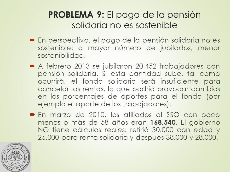 PROBLEMA 9: El pago de la pensión solidaria no es sostenible En perspectiva, el pago de la pensión solidaria no es sostenible: a mayor número de jubilados, menor sostenibilidad.