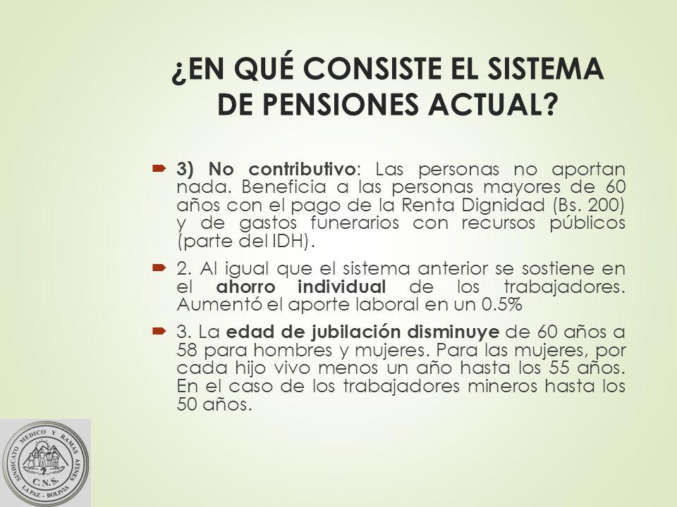 ¿EN QUÉ CONSISTE EL SISTEMA DE PENSIONES ACTUAL.3) No contributivo : Las personas no aportan nada.