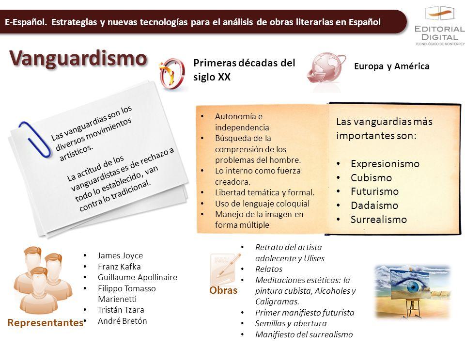 E-Español. Estrategias y nuevas tecnologías para el análisis de obras literarias en Español Vanguardismo Primeras décadas del siglo XX Europa y Améric