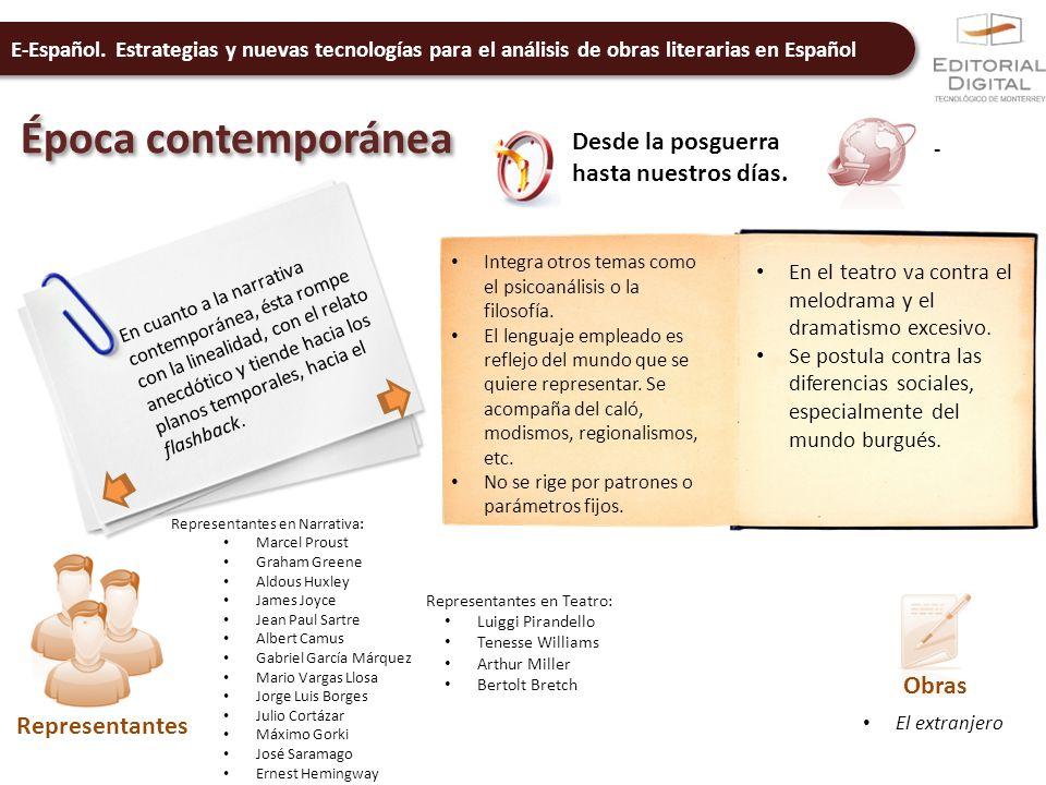 E-Español. Estrategias y nuevas tecnologías para el análisis de obras literarias en Español Época contemporánea Desde la posguerra hasta nuestros días