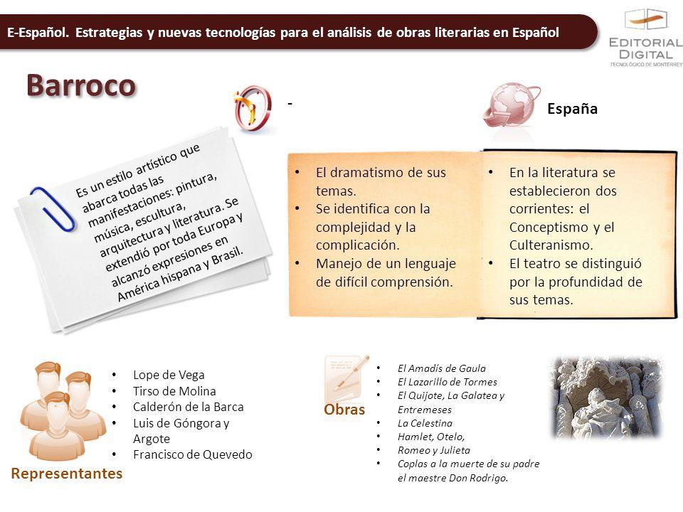 E-Español. Estrategias y nuevas tecnologías para el análisis de obras literarias en Español Barroco - España Es un estilo artístico que abarca todas l