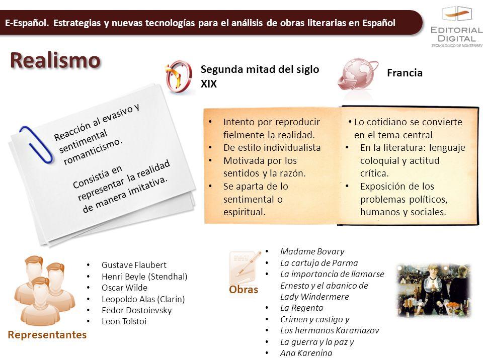 E-Español. Estrategias y nuevas tecnologías para el análisis de obras literarias en Español Realismo Segunda mitad del siglo XIX Francia Reacción al e