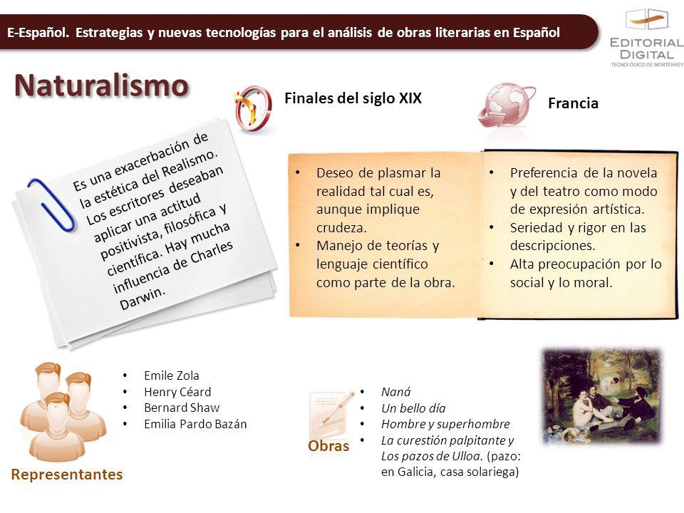 E-Español. Estrategias y nuevas tecnologías para el análisis de obras literarias en Español Naturalismo Finales del siglo XIX Francia Es una exacerbac