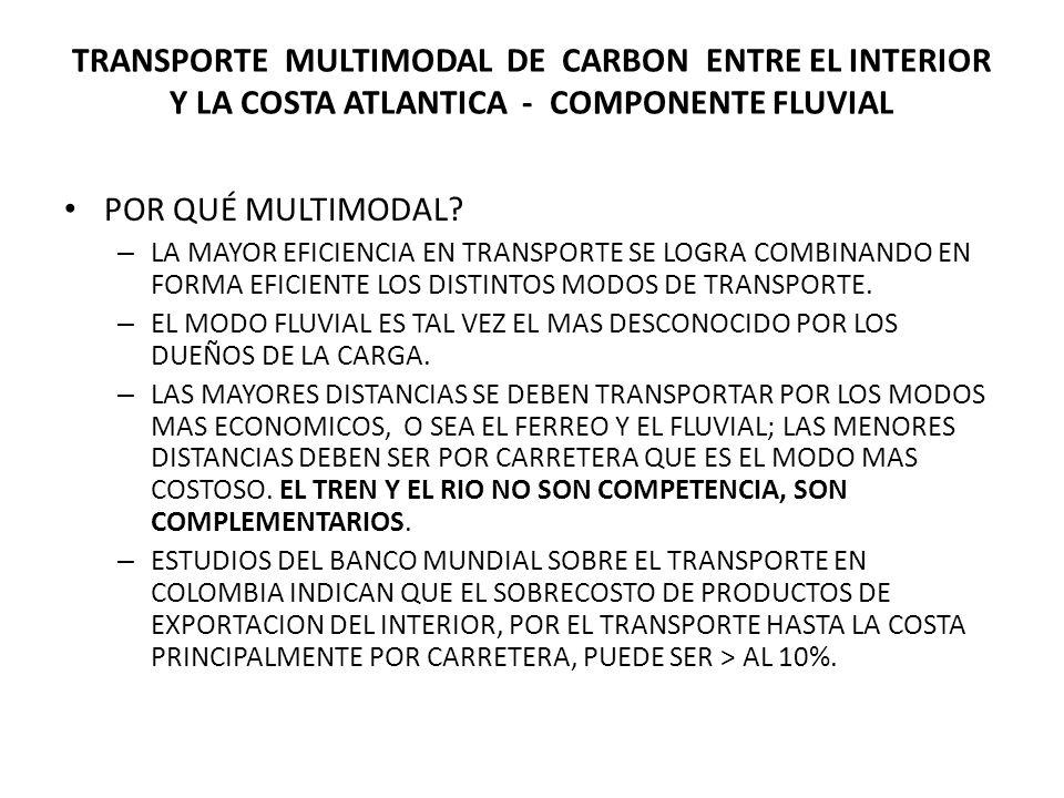 TRANSPORTE MULTIMODAL DE CARBON ENTRE EL INTERIOR Y LA COSTA ATLANTICA - COMPONENTE FLUVIAL POR QUÉ MULTIMODAL.
