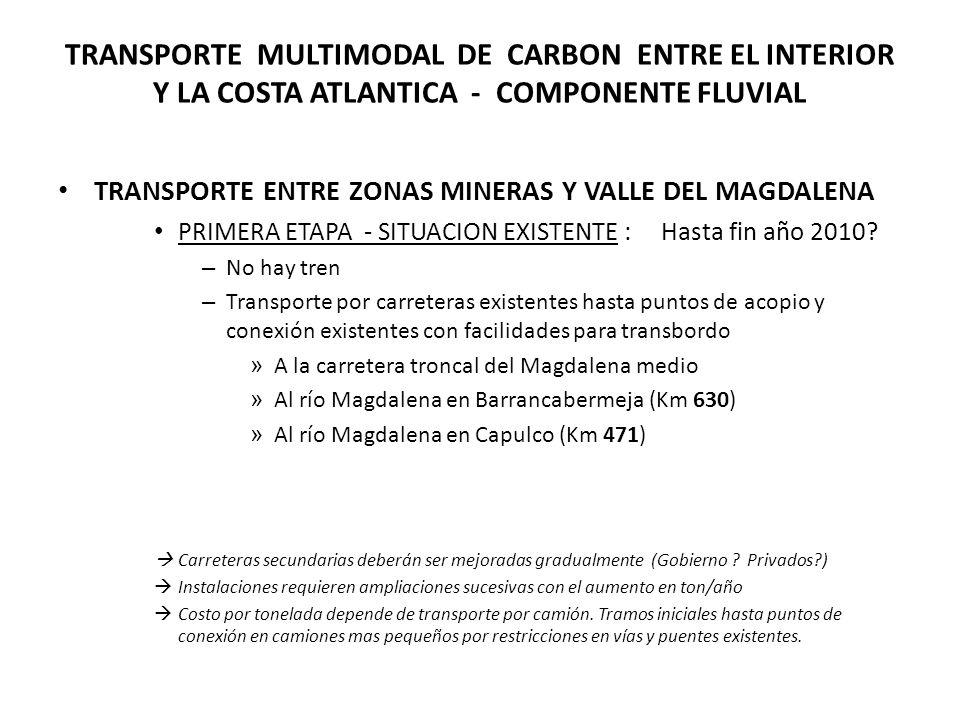 TRANSPORTE MULTIMODAL DE CARBON ENTRE EL INTERIOR Y LA COSTA ATLANTICA - COMPONENTE FLUVIAL TRANSPORTE ENTRE ZONAS MINERAS Y VALLE DEL MAGDALENA PRIMERA ETAPA - SITUACION EXISTENTE : Hasta fin año 2010.