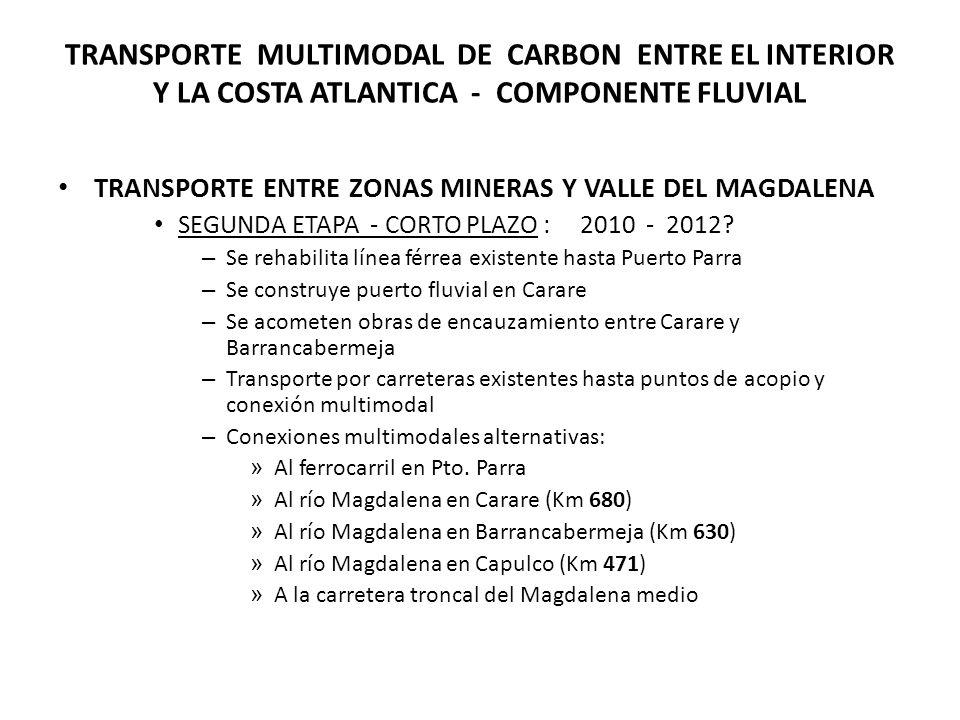 TRANSPORTE MULTIMODAL DE CARBON ENTRE EL INTERIOR Y LA COSTA ATLANTICA - COMPONENTE FLUVIAL TRANSPORTE ENTRE ZONAS MINERAS Y VALLE DEL MAGDALENA SEGUNDA ETAPA - CORTO PLAZO : 2010 - 2012.