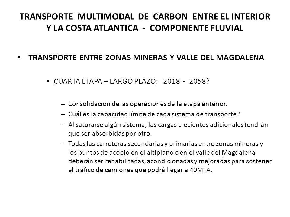 TRANSPORTE MULTIMODAL DE CARBON ENTRE EL INTERIOR Y LA COSTA ATLANTICA - COMPONENTE FLUVIAL TRANSPORTE ENTRE ZONAS MINERAS Y VALLE DEL MAGDALENA CUARTA ETAPA – LARGO PLAZO: 2018 - 2058.