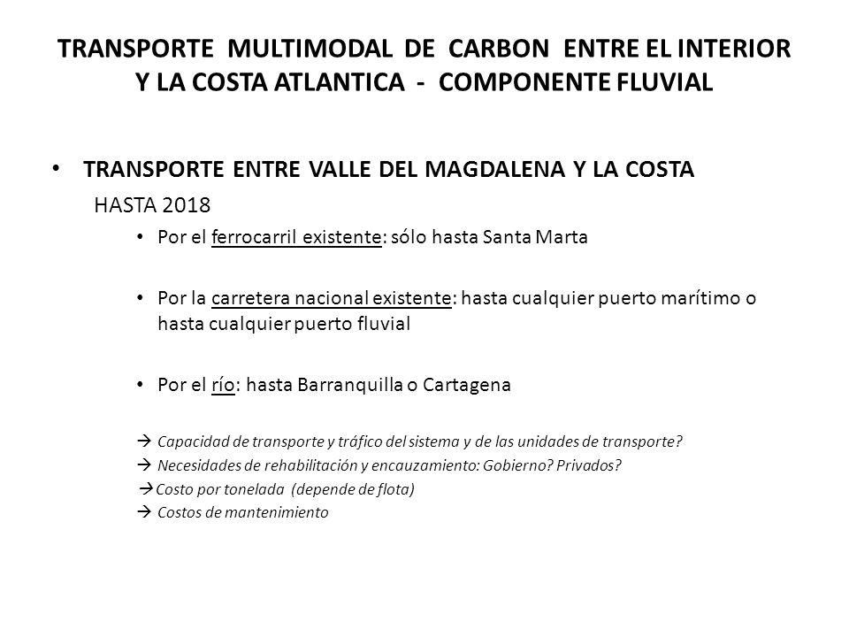 TRANSPORTE MULTIMODAL DE CARBON ENTRE EL INTERIOR Y LA COSTA ATLANTICA - COMPONENTE FLUVIAL TRANSPORTE ENTRE VALLE DEL MAGDALENA Y LA COSTA HASTA 2018 Por el ferrocarril existente: sólo hasta Santa Marta Por la carretera nacional existente: hasta cualquier puerto marítimo o hasta cualquier puerto fluvial Por el río: hasta Barranquilla o Cartagena Capacidad de transporte y tráfico del sistema y de las unidades de transporte.