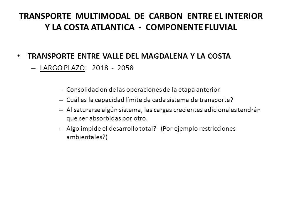 TRANSPORTE MULTIMODAL DE CARBON ENTRE EL INTERIOR Y LA COSTA ATLANTICA - COMPONENTE FLUVIAL TRANSPORTE ENTRE VALLE DEL MAGDALENA Y LA COSTA – LARGO PLAZO: 2018 - 2058 – Consolidación de las operaciones de la etapa anterior.