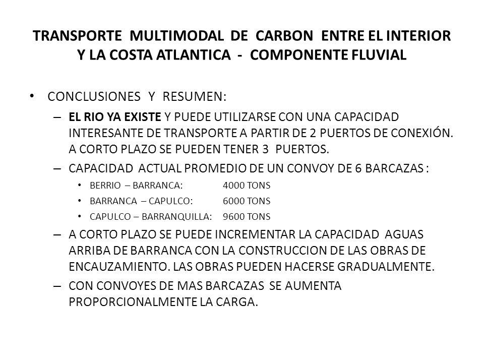 TRANSPORTE MULTIMODAL DE CARBON ENTRE EL INTERIOR Y LA COSTA ATLANTICA - COMPONENTE FLUVIAL CONCLUSIONES Y RESUMEN: – EL RIO YA EXISTE Y PUEDE UTILIZARSE CON UNA CAPACIDAD INTERESANTE DE TRANSPORTE A PARTIR DE 2 PUERTOS DE CONEXIÓN.