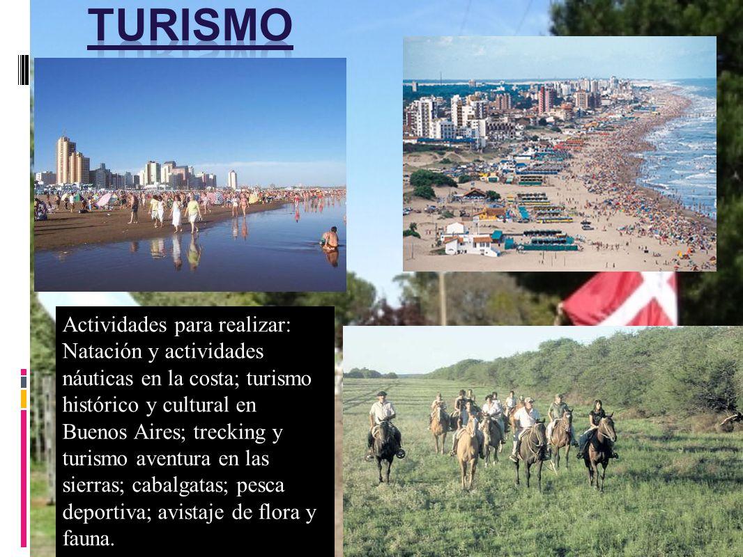 Actividades para realizar: Natación y actividades náuticas en la costa; turismo histórico y cultural en Buenos Aires; trecking y turismo aventura en l
