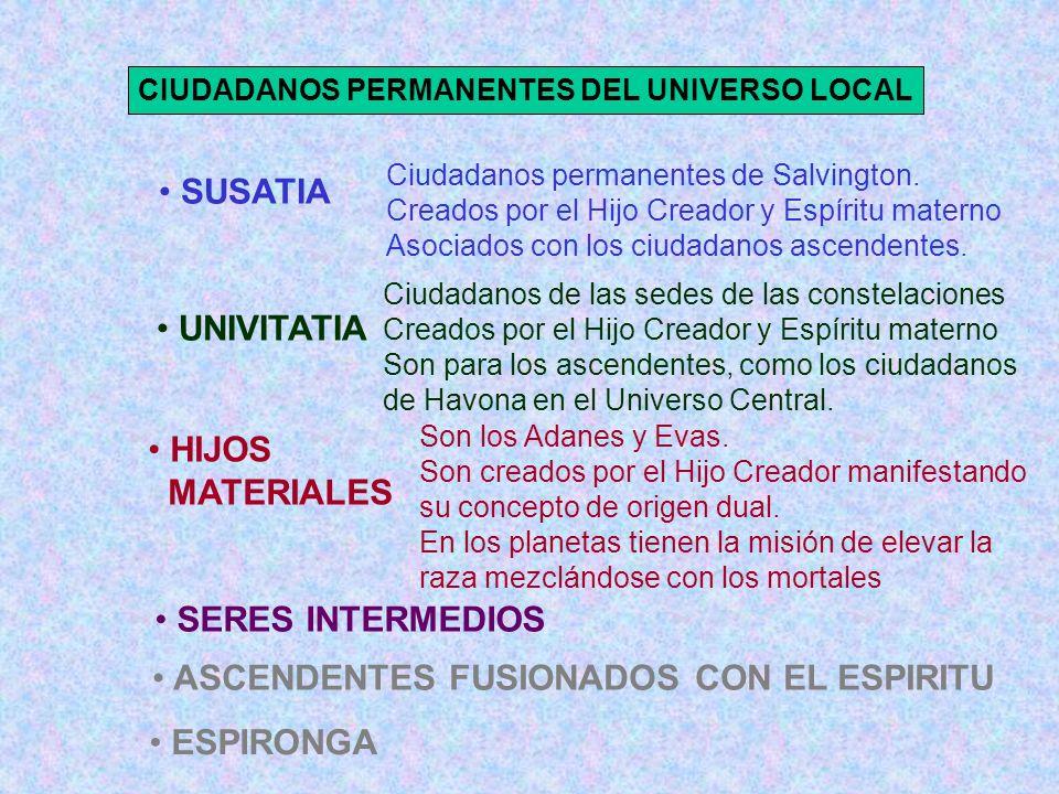 CIUDADANOS PERMANENTES DEL UNIVERSO LOCAL Ciudadanos permanentes de Salvington. Creados por el Hijo Creador y Espíritu materno Asociados con los ciuda