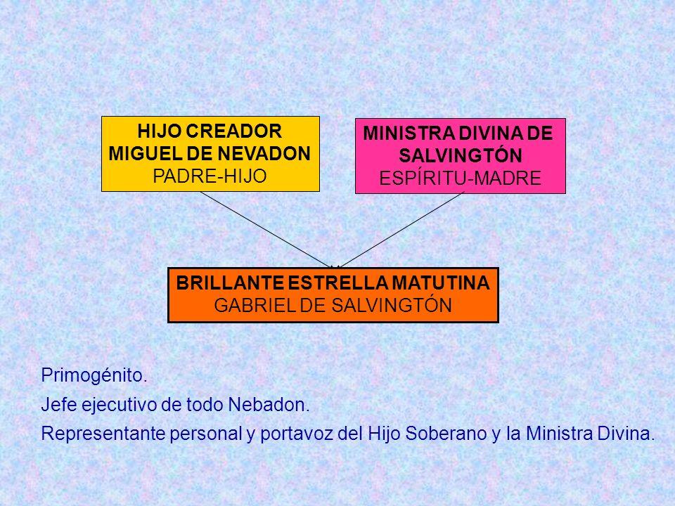 HIJO CREADOR MIGUEL DE NEVADON PADRE-HIJO MINISTRA DIVINA DE SALVINGTÓN ESPÍRITU-MADRE BRILLANTE ESTRELLA MATUTINA GABRIEL DE SALVINGTÓN Primogénito.