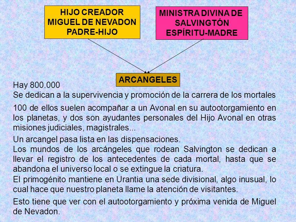 HIJO CREADOR MIGUEL DE NEVADON PADRE-HIJO MINISTRA DIVINA DE SALVINGTÓN ESPÍRITU-MADRE ARCANGELES Hay 800.000 Se dedican a la supervivencia y promoció