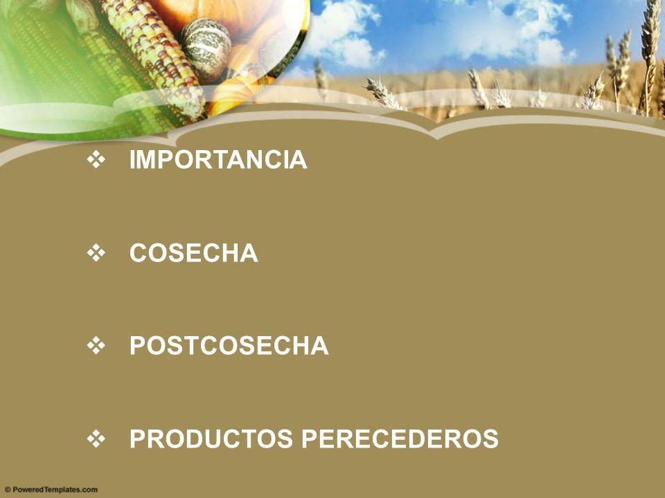 IMPORTANCIA COSECHA POSTCOSECHA PRODUCTOS PERECEDEROS