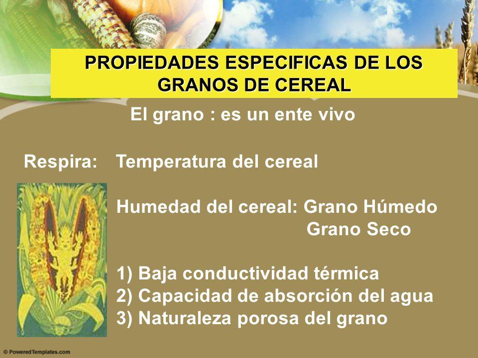 PROPIEDADES ESPECIFICAS DE LOS GRANOS DE CEREAL El grano : es un ente vivo Respira: Temperatura del cereal Humedad del cereal: Grano Húmedo Grano Seco