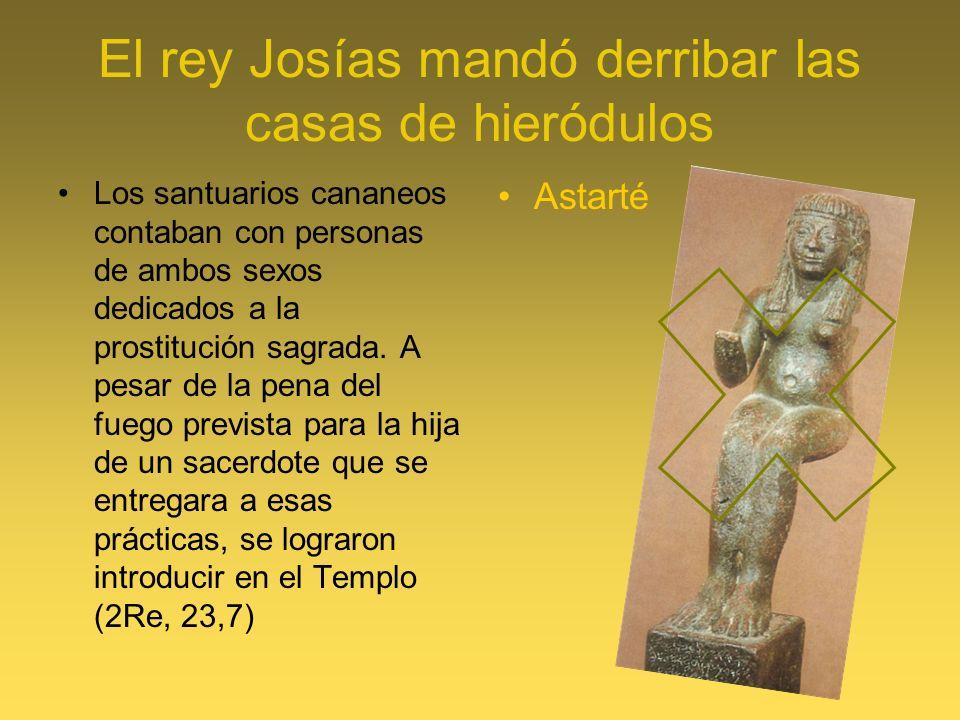 El rey Josías mandó derribar las casas de hieródulos Los santuarios cananeos contaban con personas de ambos sexos dedicados a la prostitución sagrada.