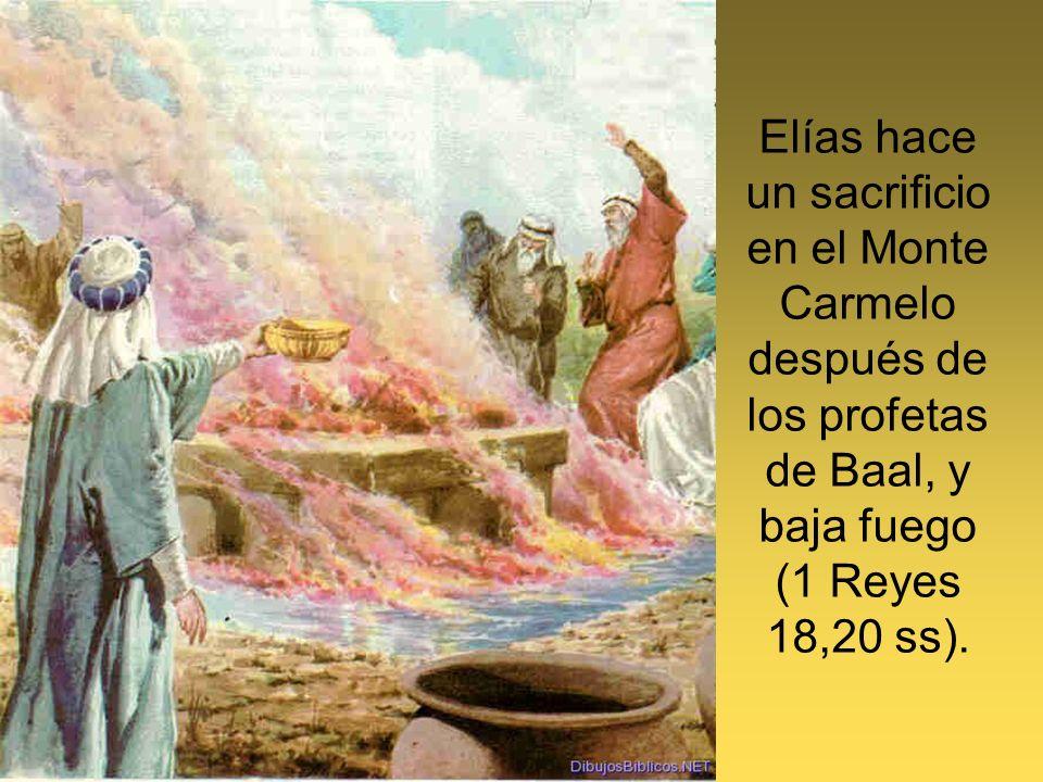 Elías hace un sacrificio en el Monte Carmelo después de los profetas de Baal, y baja fuego (1 Reyes 18,20 ss).