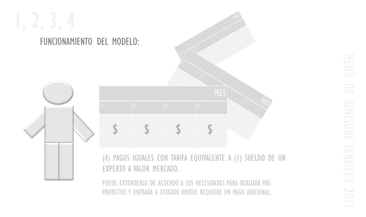 FUNCIONAMIENTO DEL MODELO: MENÚ DE ADVISORY SERVICES 2011 1, 2, 3, 4 (4) PAGOS IGUALES CON TARIFA EQUIVALENTE A (1) SUELDO DE UN EXPERTO A VALOR MERCADO.