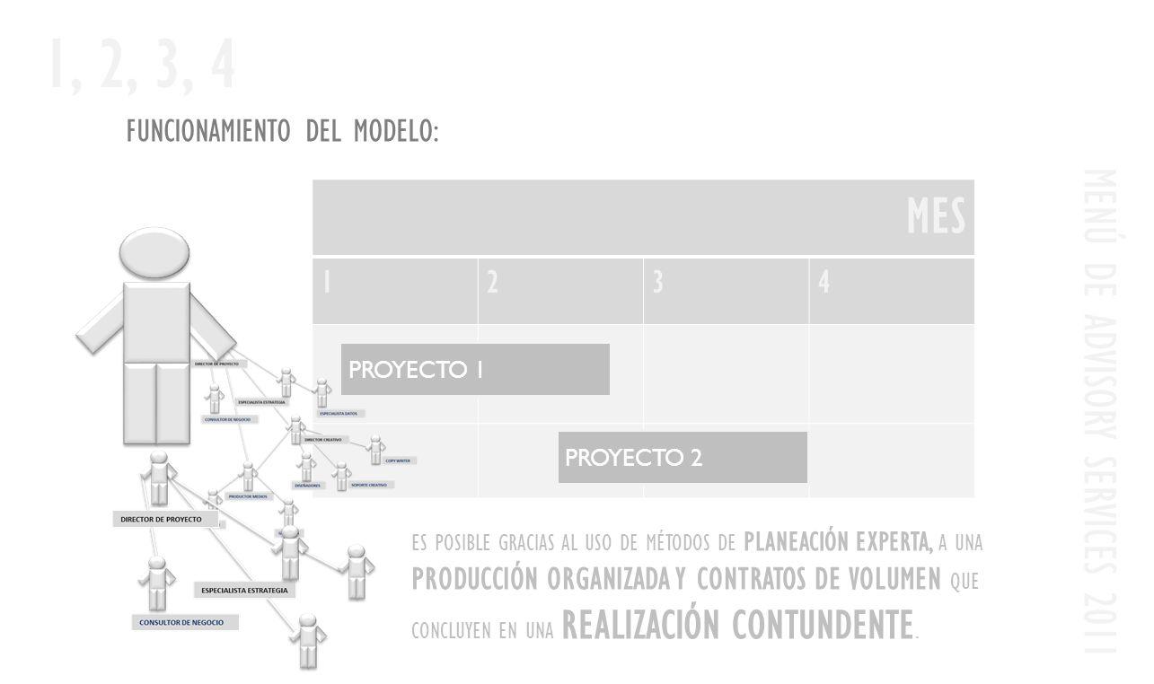 FUNCIONAMIENTO DEL MODELO: MENÚ DE ADVISORY SERVICES 2011 1, 2, 3, 4 MES 1234 PROYECTO 1 PROYECTO 2 ES POSIBLE GRACIAS AL USO DE MÉTODOS DE PLANEACIÓN EXPERTA, A UNA PRODUCCIÓN ORGANIZADA Y CONTRATOS DE VOLUMEN QUE CONCLUYEN EN UNA REALIZACIÓN CONTUNDENTE.