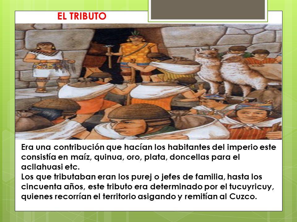 EL TRIBUTO Era una contribución que hacían los habitantes del imperio este consistía en maíz, quinua, oro, plata, doncellas para el acllahuasi etc. Lo