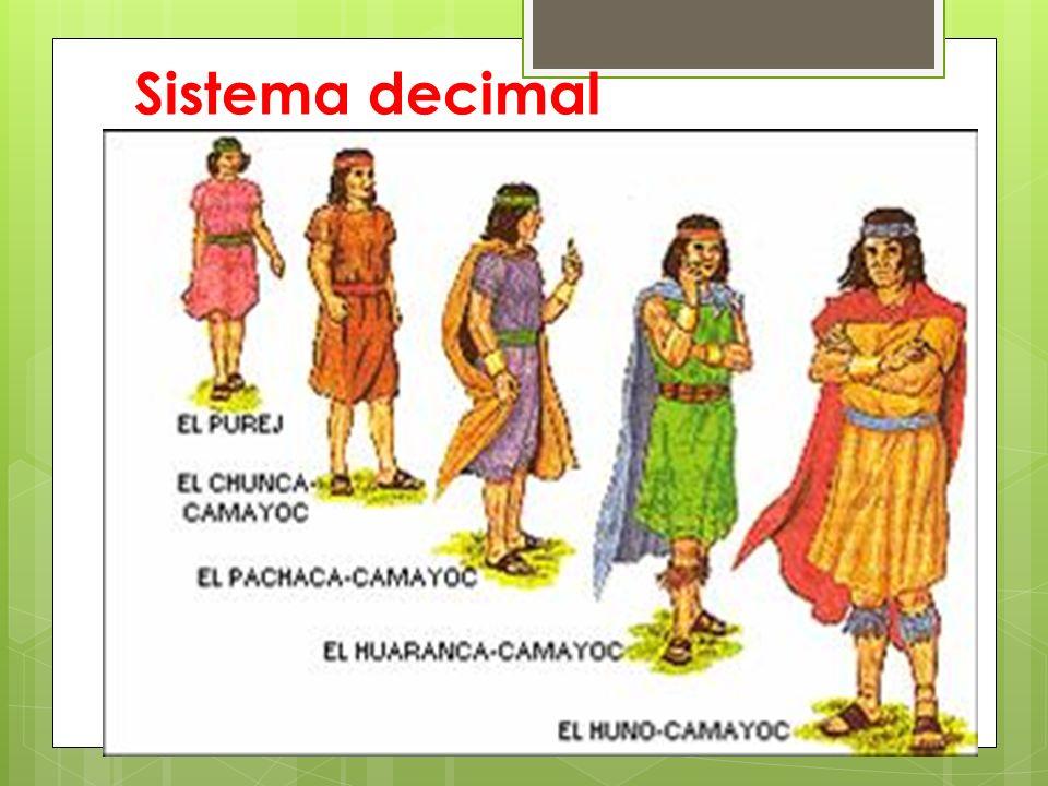 En el Tawantinsuyu se desarrolló un sistema de organización de las familias llamada decimal, esta organización que la aplicaron preferentemente en el empadronamiento de los miembros del Ayllu, tuvo por base el sistema decimal, la siguiente clasificación: - El Purej o jefe de una familia - El Pisca Camayoc, jefe de cinco familias - El Chunca Camayoc, jefe de diez familias - El Pisca Chunca Camayoc, jefe de cincuenta familias - El Pachaca Camayoc, jefe de cien familias - El Pisca Pachaca Camayoc, jefe de quinientas familias - El Huaranga Camayoc, jefe de mil familias - El Pisca Huaranca Camayoc, jefe de cinco mil familias - El Huno Camayoc, jefe de diez mil familias.