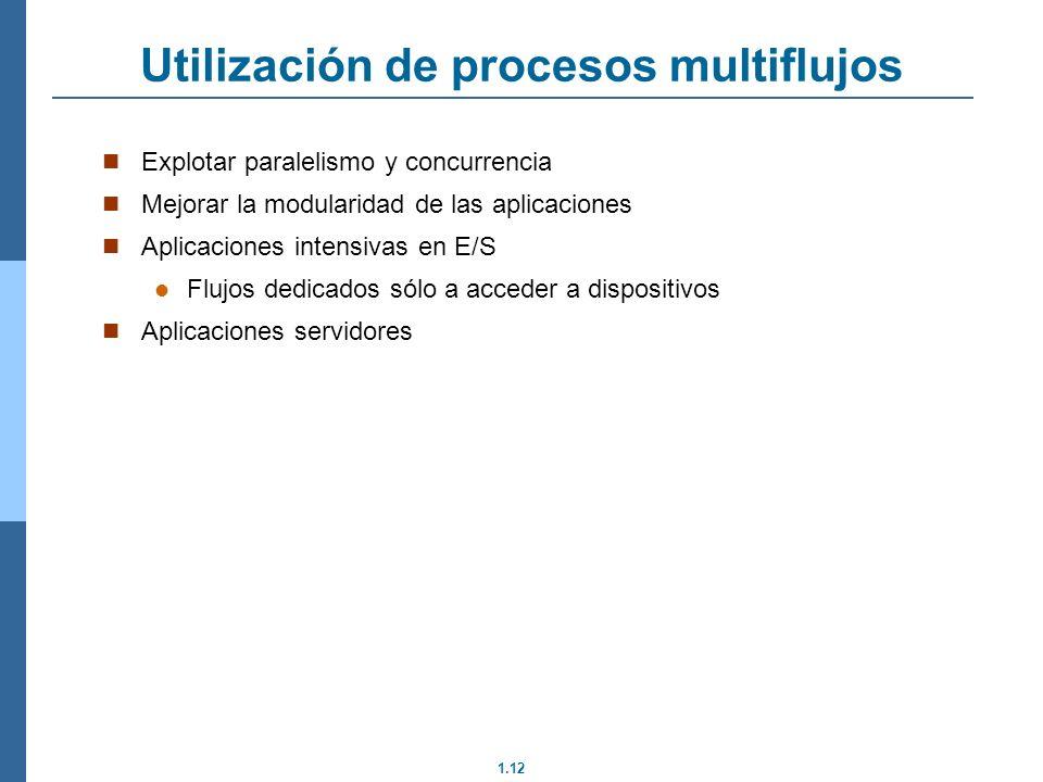 1.12 Explotar paralelismo y concurrencia Mejorar la modularidad de las aplicaciones Aplicaciones intensivas en E/S Flujos dedicados sólo a acceder a d