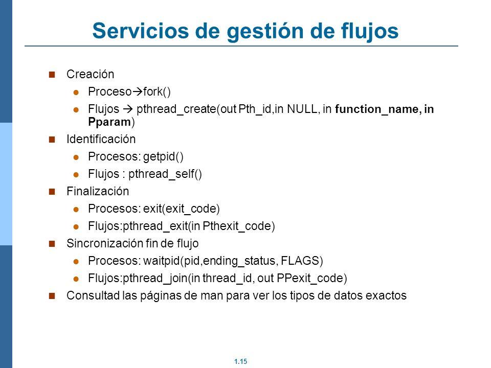 1.15 Servicios de gestión de flujos Creación Proceso fork() Flujos pthread_create(out Pth_id,in NULL, in function_name, in Pparam) Identificación Proc