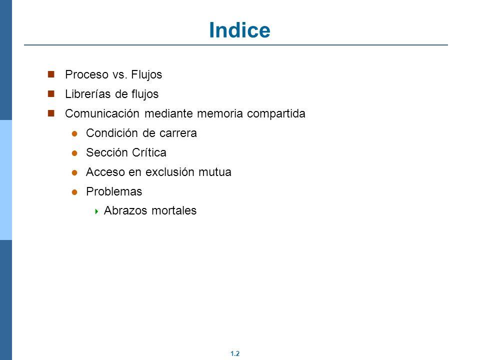 1.2 Proceso vs. Flujos Librerías de flujos Comunicación mediante memoria compartida Condición de carrera Sección Crítica Acceso en exclusión mutua Pro