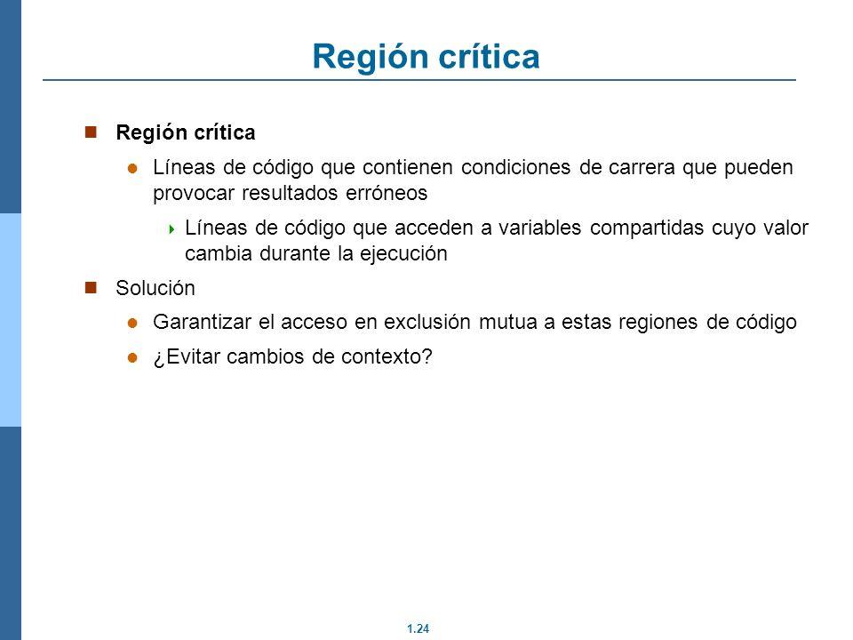 1.24 Región crítica Líneas de código que contienen condiciones de carrera que pueden provocar resultados erróneos Líneas de código que acceden a varia