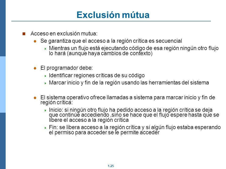 1.25 Acceso en exclusión mutua: Se garantiza que el acceso a la región crítica es secuencial Mientras un flujo está ejecutando código de esa región ni