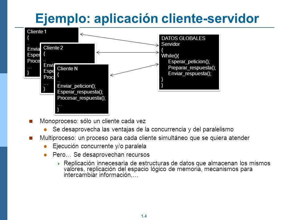 1.4 Monoproceso: sólo un cliente cada vez Se desaprovecha las ventajas de la concurrencia y del paralelismo Multiproceso: un proceso para cada cliente