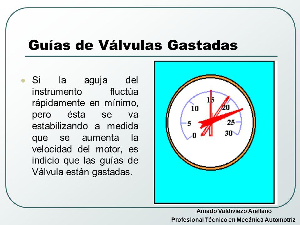 Guías de Válvulas Gastadas Si la aguja del instrumento fluctúa rápidamente en mínimo, pero ésta se va estabilizando a medida que se aumenta la velocid