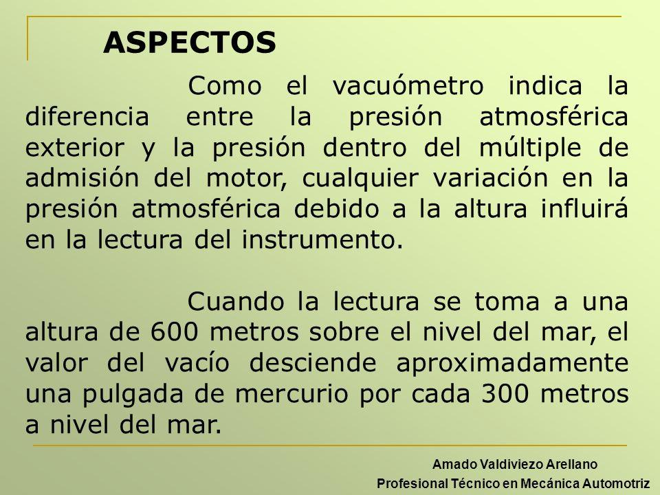 ASPECTOS Como el vacuómetro indica la diferencia entre la presión atmosférica exterior y la presión dentro del múltiple de admisión del motor, cualqui