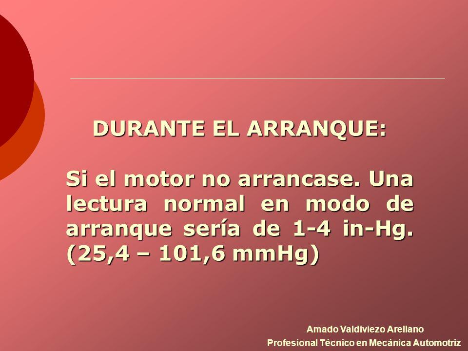 DURANTE EL ARRANQUE: Si el motor no arrancase. Una lectura normal en modo de arranque sería de 1-4 in-Hg. (25,4 – 101,6 mmHg) Amado Valdiviezo Arellan