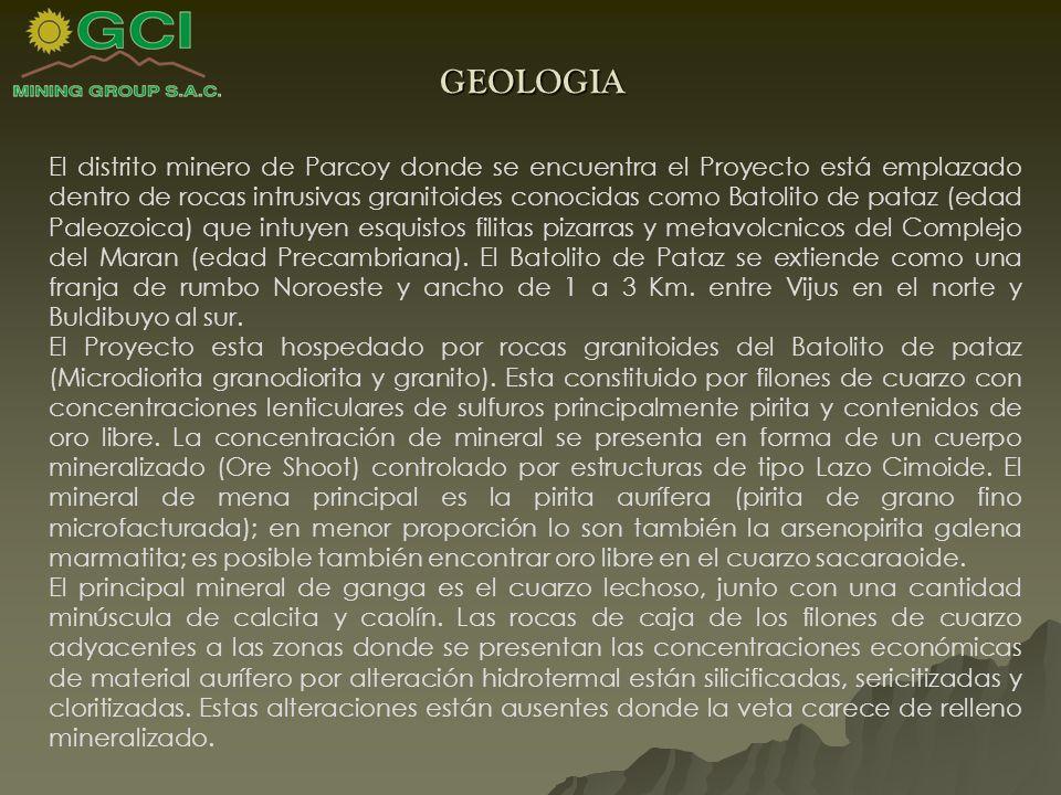 GEOLOGIA El distrito minero de Parcoy donde se encuentra el Proyecto está emplazado dentro de rocas intrusivas granitoides conocidas como Batolito de pataz (edad Paleozoica) que intuyen esquistos filitas pizarras y metavolcnicos del Complejo del Maran (edad Precambriana).