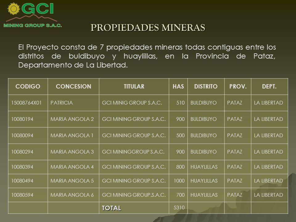 PROPIEDADES MINERAS El Proyecto consta de 7 propiedades mineras todas contiguas entre los distritos de buldibuyo y huaylillas, en la Provincia de Pataz, Departamento de La Libertad.