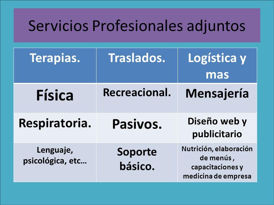 Servicios Profesionales adjuntos Terapias.Traslados.Logística y mas Física Recreacional.