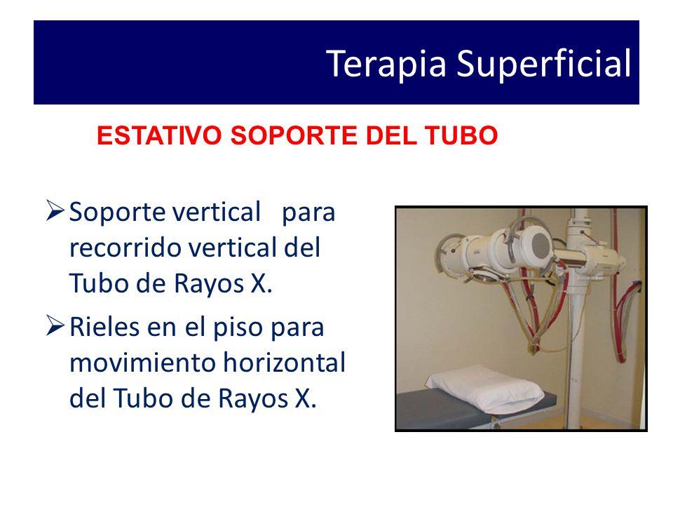Terapia Superficial Soporte vertical para recorrido vertical del Tubo de Rayos X.