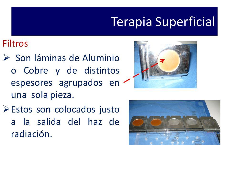 Terapia Superficial Filtros Son láminas de Aluminio o Cobre y de distintos espesores agrupados en una sola pieza.