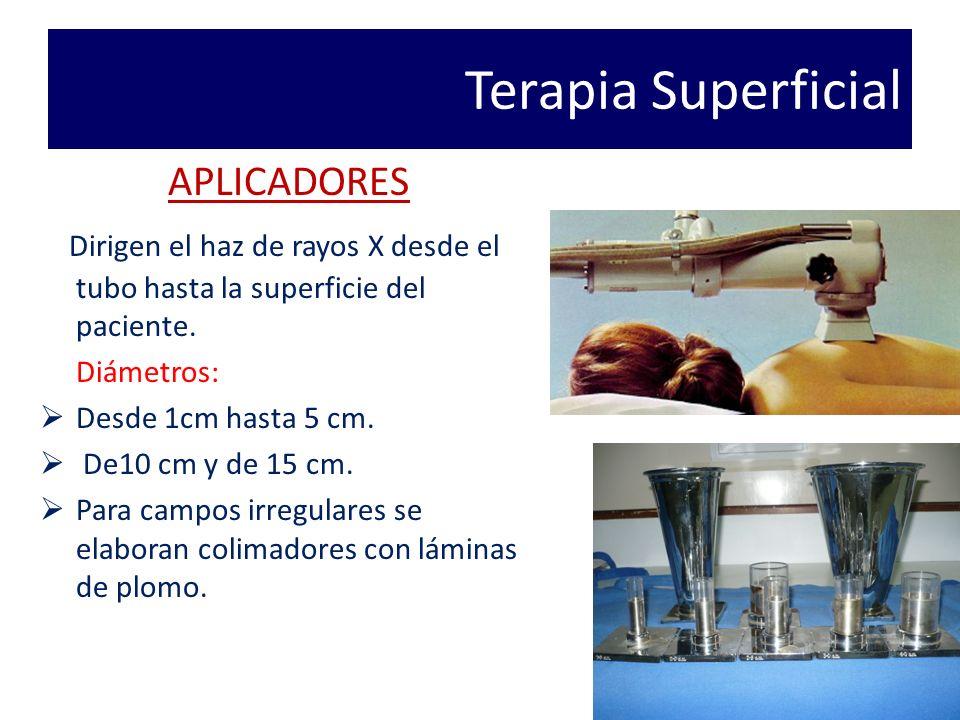 Terapia Superficial APLICADORES Dirigen el haz de rayos X desde el tubo hasta la superficie del paciente.