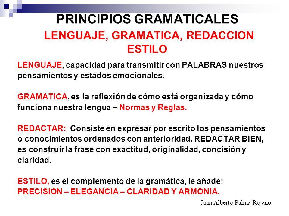 PRINCIPIOS GRAMATICALES LENGUAJE, GRAMATICA, REDACCION ESTILO LENGUAJE, capacidad para transmitir con PALABRAS nuestros pensamientos y estados emocion