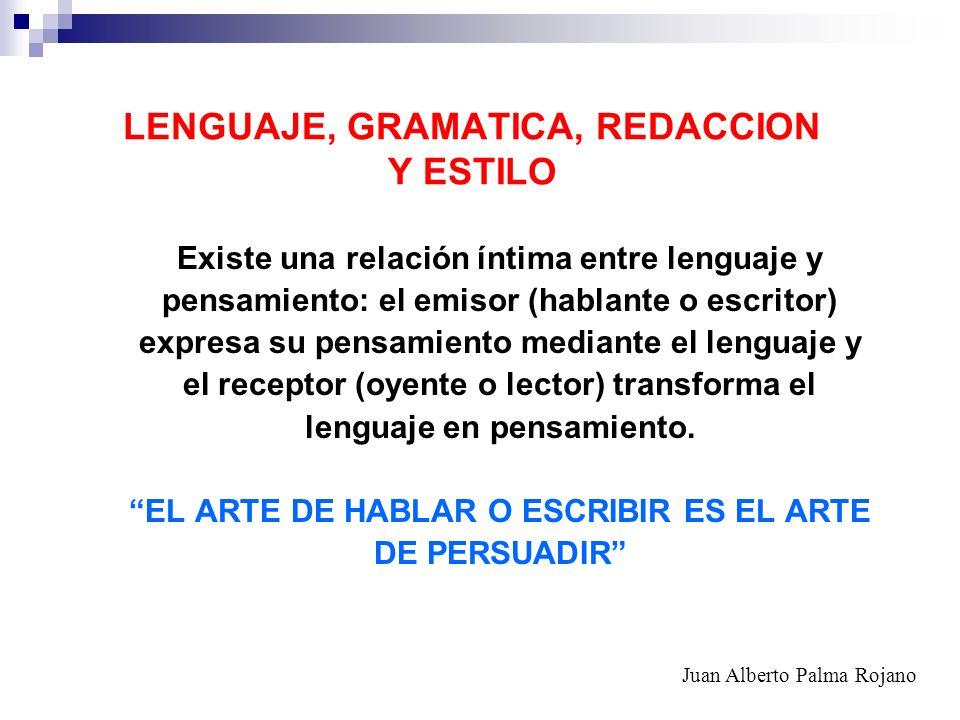 LENGUAJE, GRAMATICA, REDACCION Y ESTILO Existe una relación íntima entre lenguaje y pensamiento: el emisor (hablante o escritor) expresa su pensamient