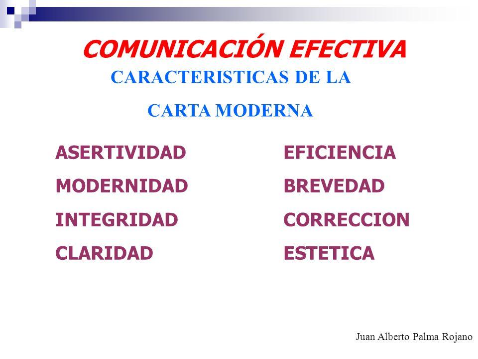 COMUNICACIÓN EFECTIVA CARACTERISTICAS DE LA CARTA MODERNA ASERTIVIDADEFICIENCIA MODERNIDADBREVEDAD INTEGRIDADCORRECCION CLARIDADESTETICA Juan Alberto
