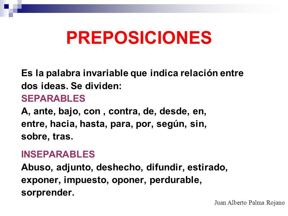 PREPOSICIONES Es la palabra invariable que indica relación entre dos ideas. Se dividen: SEPARABLES A, ante, bajo, con, contra, de, desde, en, entre, h