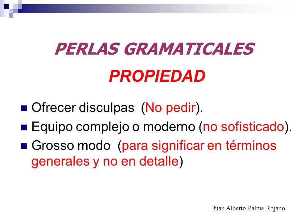 PERLAS GRAMATICALES PROPIEDAD Ofrecer disculpas (No pedir). Equipo complejo o moderno (no sofisticado). Grosso modo (para significar en términos gener