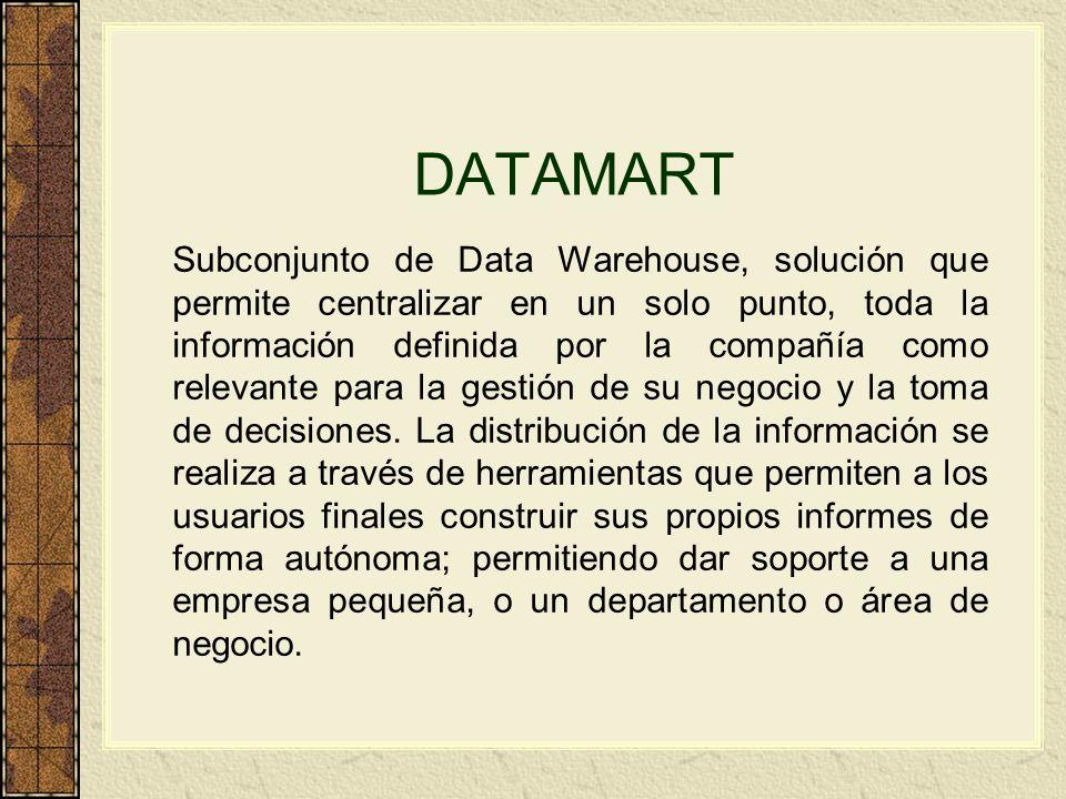 DATAMART Subconjunto de Data Warehouse, solución que permite centralizar en un solo punto, toda la información definida por la compañía como relevante