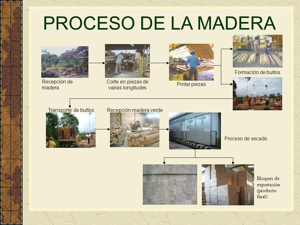 PROCESO DE LA MADERA Recepción de madera Corte en piezas de varias longitudes Pintar piezas Formación de bultos Transporte de bultosRecepción madera v