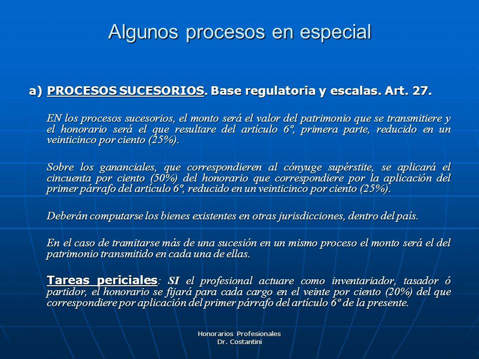 Honorarios Profesionales Dr. Costantini Algunos procesos en especial a)PROCESOS SUCESORIOS. Base regulatoria y escalas. Art. 27. EN los procesos suces